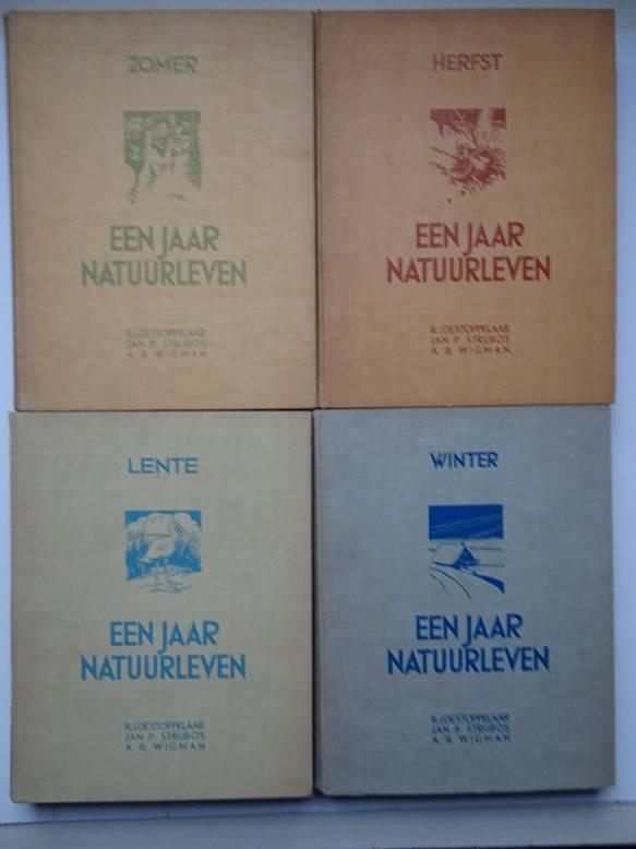 STOPPELAAR, R.J. DE, JAN P. STRIJBOS EN A.B. WIGMA. - Een jaar natuurleven. Vol.I:Lente, vol.II:Zomer, vol.III:Herst en vol.IV:Winter.