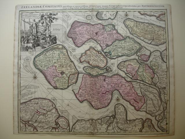 Zeeland.. - Zeelandiae Comitatus. Novissima et Accuratissima delineatione mappa Geographica repraesentatus per Matthaeum Seutter.