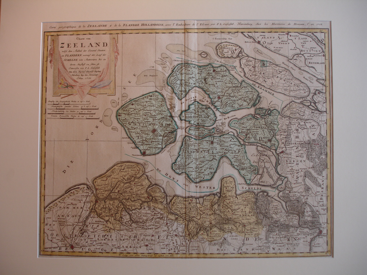 ZEELAND.. - Charte von Zeeland, nebst dem Antheil der General Staaten an Flandern, worauf der Lauf der Schelde von Antwerpen bis zu ihrem Ausfluss zu sehen ist.