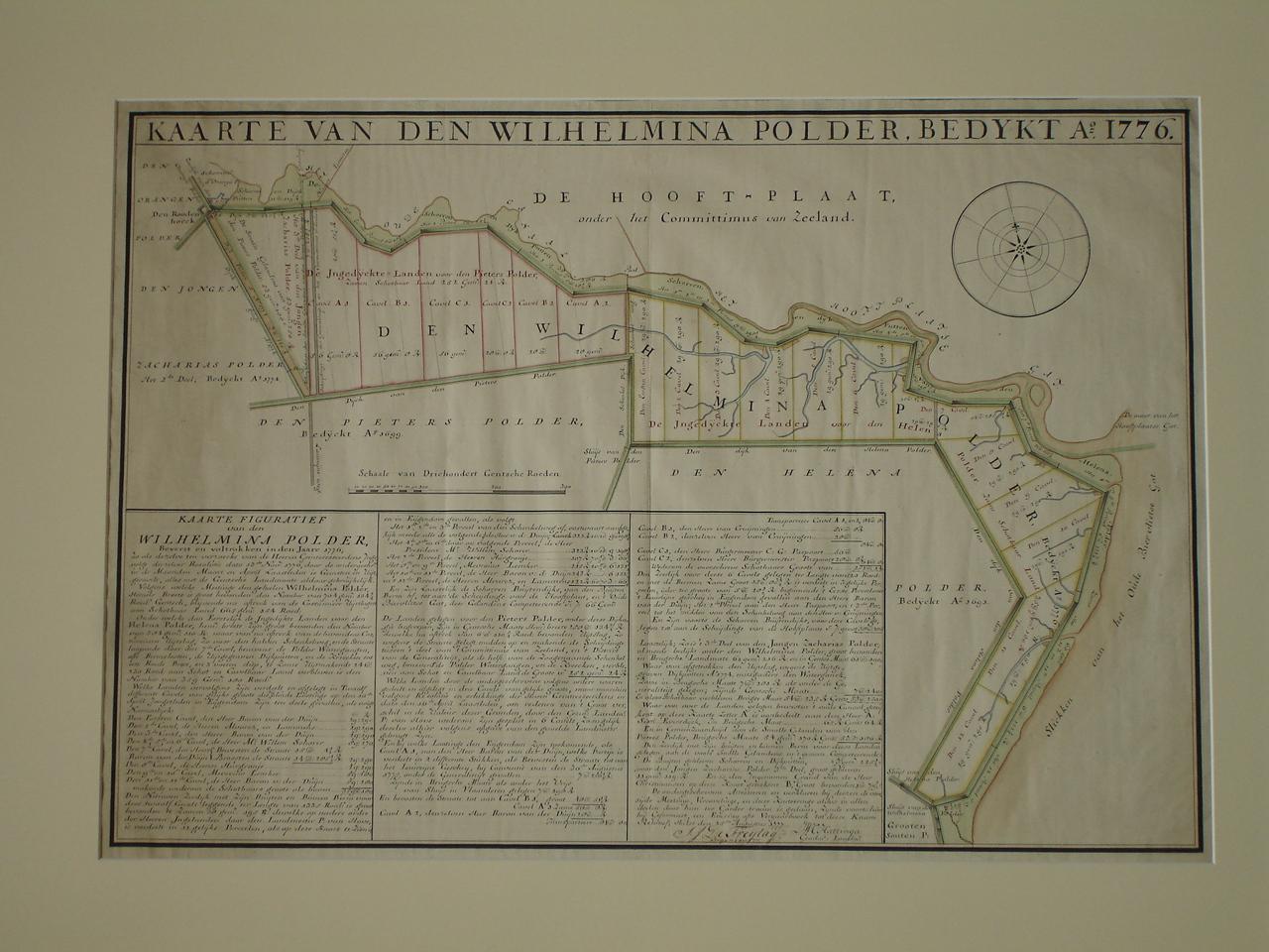 WILHELMINAPOLDER (ZEEUWS-VLAANDEREN). - Kaarte van den Wilhelmina Polder, bedykt Anno 1776.