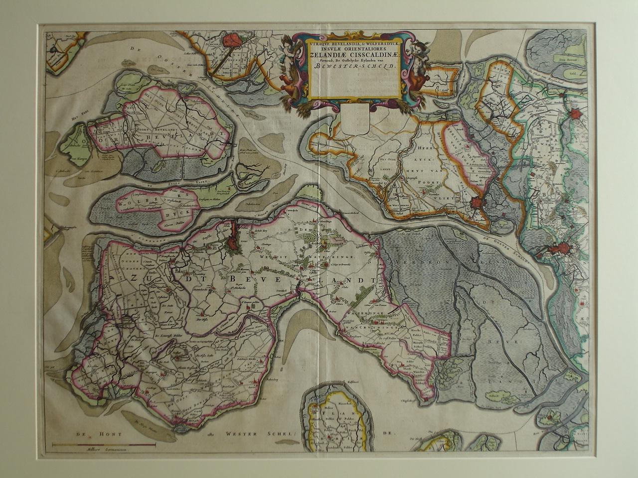 ZEELAND.. - Utraque Bevelandia, & Wolfersdyck, Insulae orientaliores Zelandiae Cisscaldinae; vermacule, De Oostelycke Eylanden van Bewester-Scheld.