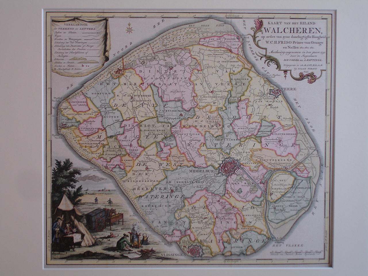 WALCHEREN. - Kaart van het eiland Walcheren, op ordre van zyne doorlugtigste Hoogheid W.C.H. Friso Prince van Orange en Nassau etc.etc.etc. Meetkundig opgenomen in den jaare 1750 door de Ingenieurs D.W. Carel en A. Hattinga.