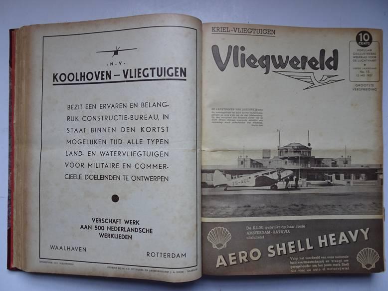 BACH, J.A. (RED.). - Vliegwereld; populair geïllustreerd weekblad voor de luchtvaart; ingebonden, derde jaargang (52 nrs., van 4 februari 1937 t/m 27 januari 1938).