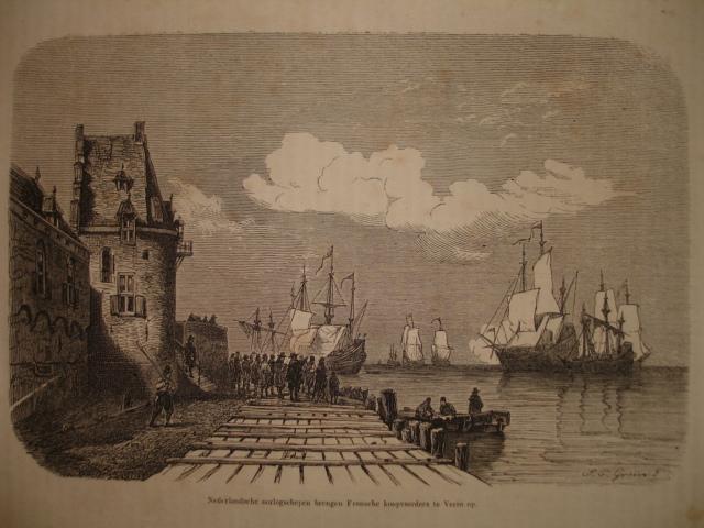 VEERE.. - Nederlandsche oorlogschepen brengen Fransche koopvaarders te Veere op.