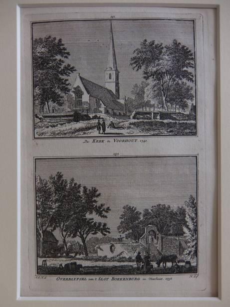 VOORHOUT. - De Kerk te Voorhout, 1740/ Overblyfsel van 't Slot Boekenburg in Voorhout, 1738.