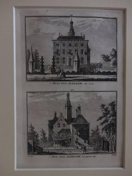 ALKEMADE. - 't Huis Oud Alkemade, van voren/ 't Huis Oud Alkemade, van agteren, 1730.
