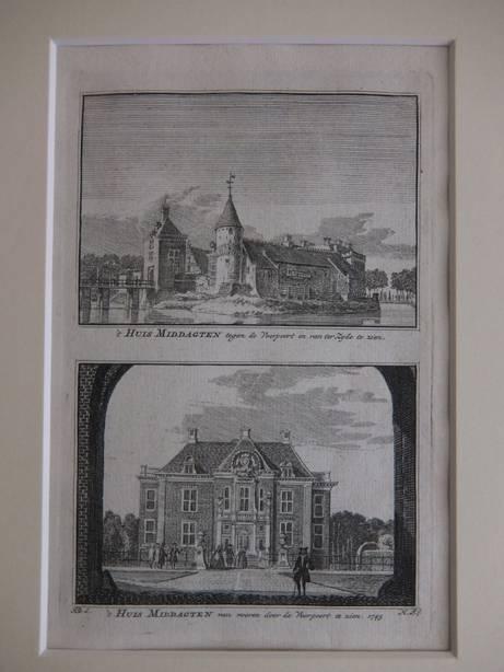DE STEEG. - 't Huis Middagten tegen de Voorpoort en van ter Zyde te zien/ 't Huis Middagten van vooren door de Voorpoort te zien, 1743.