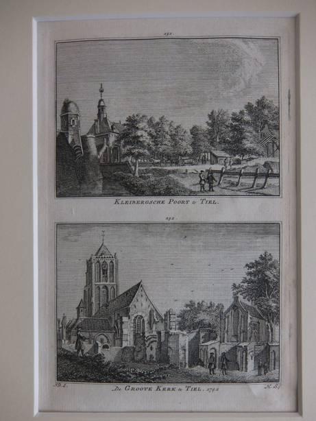 TIEL. - Kleibergsche Poort te Tiel/ De Groote Kerk te Tiel, 1742.