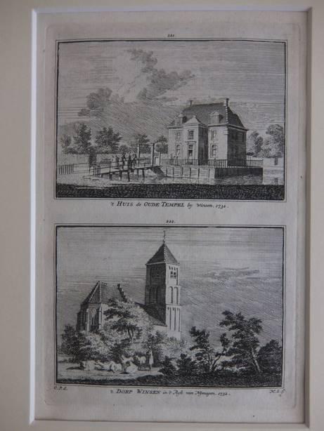 WINSEN. - 't Huis de Oude Tempel by Winsen, 1732/ 't Dorp Winsen in 't Rijk van Nymegen, 1732.