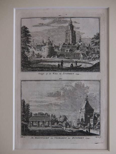 ZUTPHEN. - Gezigt op de Wal te Zutphen, 1744/ De Mastpoort en Vismarkt te Zutphen, 1744.