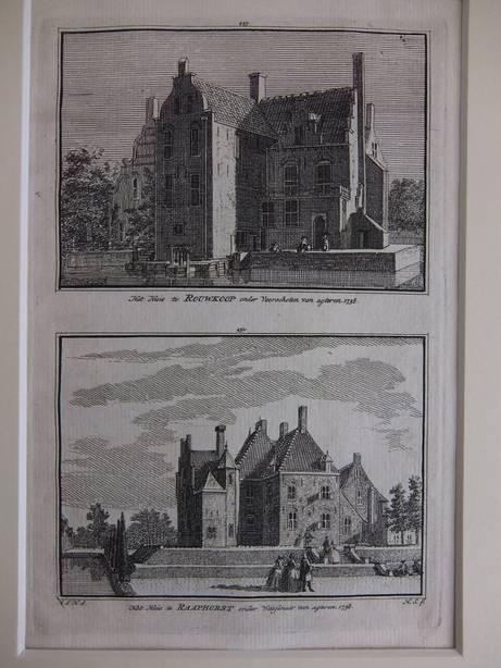 WASSENAAR. - Het Huis te Rouwkoop onder Voorschoten van agteren, 1738/ Het Huis te Raaphorst onder Wassenaar van agteren, 1738.