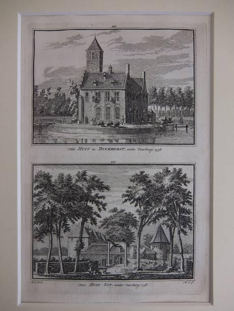 VOORBURG. - Het Huis te Binkhorst, onder Voorburg, 1738/ Het Huis Loo, onder Voorburg, 1738.