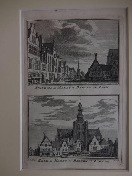 BERGEN OP ZOOM. - Stadhuis en Markt te Bergen op Zoom/ Kerk en Markt te Bergen op Zoom, 1739.