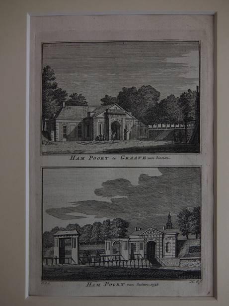 GRAVE. - Ham Poort te Graave van binnen/ Ham Poort van buiten, 1732.