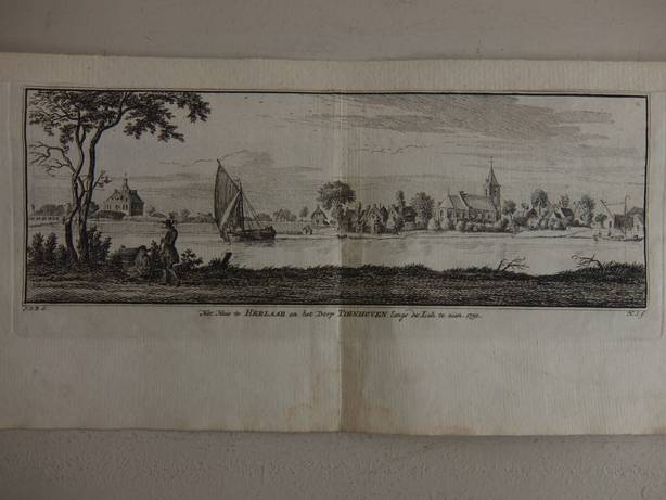 TIENHOVEN. - Het Huis te Herlaar en het Dorp Tienhoven langs de Lek te zien, 1750.