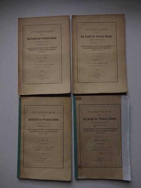 VISVLIET, J.P. VAN. - Inventaris van het Oud Archief der Provincie Zeeland. Deel II: Chronologische tafel van de charters en oorkonden der graaflijke regering 1119-1574.1ste aflevering: nos. 1-1177, 2de aflevering: nos. 1178-2464 & 3de aflevering: nos. 2465-3544. Deel III: Beredeneerde inventaris van de charters en oorkonden der graaflijke regering 1119-1574. 2de aflevering (1348-1407). 4 delen.