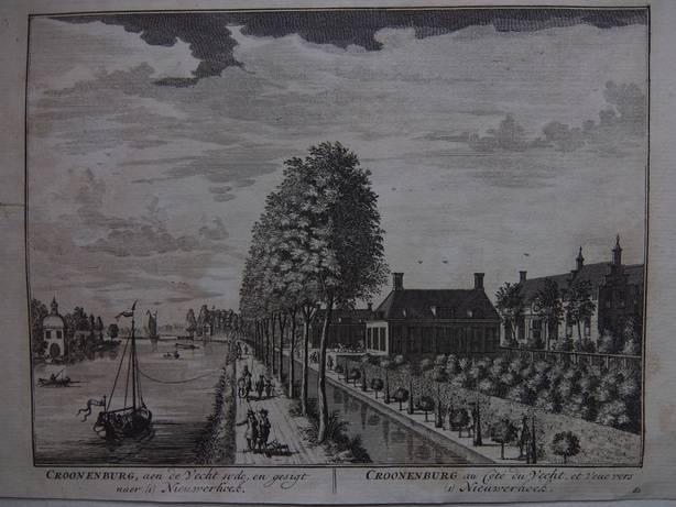 LOENEN AAN DE VECHT. - Croonenburg, aen de Vecht syde, en gesigt naer (1) Nieuwerhoek. Croonenburg au Coté du vecht, et veüe vers (1) Nieuwerhoek.