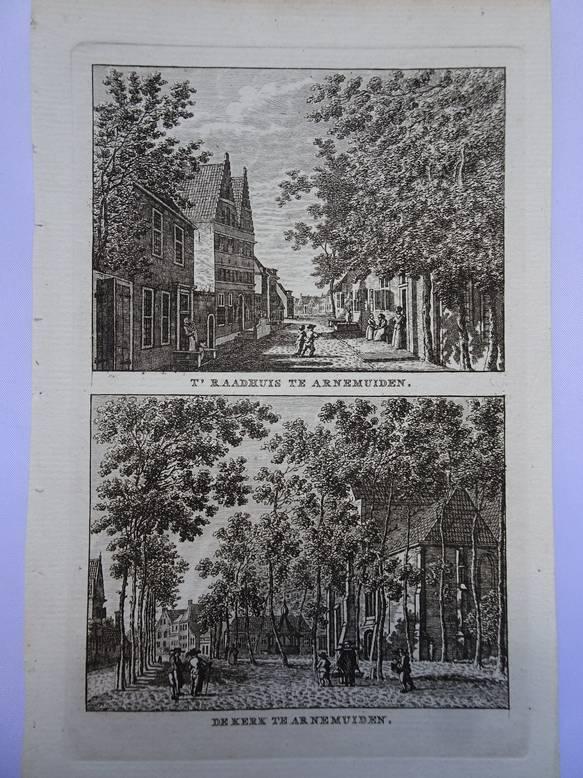 ARNEMUIDEN. - T' Raadhuis te Arnemuiden - De kerk te Arnemuiden.